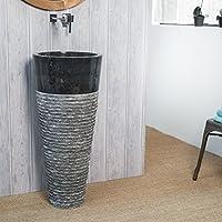 Lavabo de pie cuadrado de piedra FLORENCIA negro