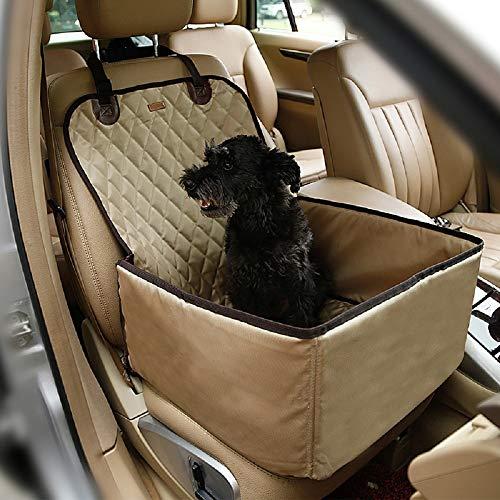 Petcomer Protector de Asiento de Coche para Mascota Perro Gato Asiento Cubierto Caja de Transporte 2 en 1 Funda Impermeable y Resistente (Beige)