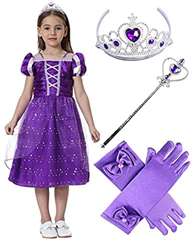 Costumes Princesse Tiana Robes - Lonchee Fille Costume Robe Princesse Raiponce Partie