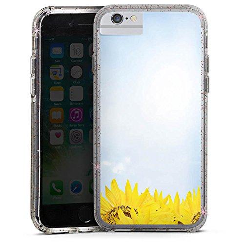 Apple iPhone 6s Bumper Hülle Bumper Case Glitzer Hülle Sonnenblumen Himmel Sonne Bumper Case Glitzer rose gold