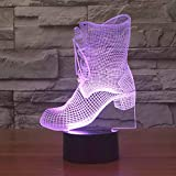 Boots Shape Led Table Lamp 3D 7 Color Change Sleep Night Light USB Kids New Year Gifts Bedside Shoes Lampara Light Fixture Decor