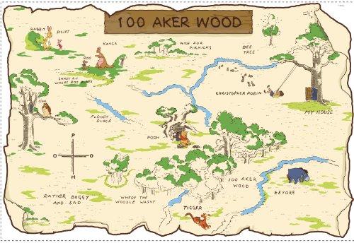 FUN HOUSE 712053 - Ameublement et Décoration - Sticker Disney - Winnie 100 Aker Wood Carte