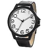 NUOVO Herren Uhr Analog Quarz mit Schwarz Leder Armband Wasserdicht K170044-1G-WHI