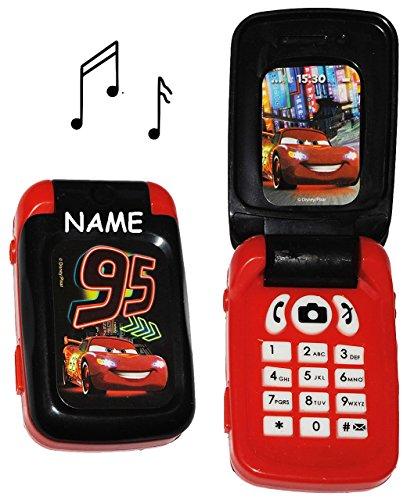 Handy mit SOUND - Disney Cars - incl. Name - für Kinder / Jungen - Auto Kinderhandy / Spielzeughandy - Spielzeugtelefon - Klapphandy Telefon Lightning McQueen - Lernhandy / Kindertelefon zum Aufklappen - Spielzeug Musik Melody - Flip Top