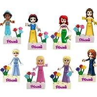 Disney Princess Dolls fits lego - 8 pc Set - Snow White, Bella, Cinderella
