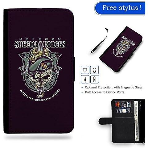 / Stylus for FREE / Protettiva Cassa Pelle Portafoglio Custodia CASE FOR Samsung Galaxy S4 Mini i9190 / # US ARMY Forze Speciali Skull Logo Art Emblem #US ARMY Special Forces Skull Logo Art Emblem