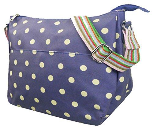 Kukubird vari Poodle farfalla fiori stelle polkadots pattern & Rainbow Strap Sling crossbody Messenger scuola palestra Bag Polka Dot Dark Blue