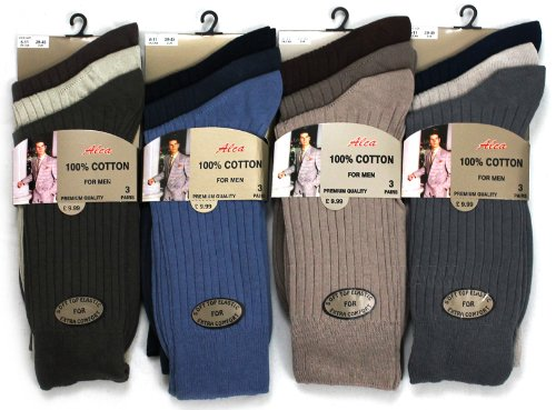 Mens 100% Cotton Top Quality Socks Regular Size 6-11 Pack of 6