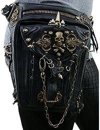 TTLCD Retro Rock Weinlese Gotische Steampunk Punk Männer Frauen Leder Schultertasche Taille Beinbeutel verpackt Geldbörse Motorrad Tasche