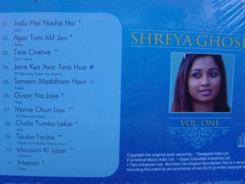 SHREYA GHOSHAL KARAOKE CD Vol 1 (Lyrics Booklet in Hindi- English)