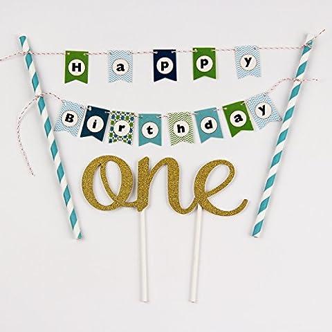 """KUNGYO Ein Geburtstagstorte Topper Set Kleine Buntings Banner (blau) Cake Topper Kuchenwimpel Girlande Und Golden""""One"""""""