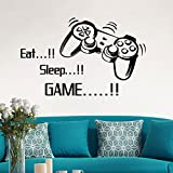 Eat Sleep Game Wall Stickers Bedroom for Boys Kids Rooms Decoration Wall Decals Art Home Decor Wall Mural Decals (Black)