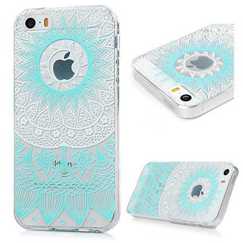 iPhone 5/5S Hülle Kasos iPhone SE Case Painted TPU Silikon Handyhülle Crystal Clear Schutzhülle Tasche Back Cover Handy Schale Paket 4
