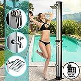 Aquamarin Solardusche 35L | Temperatur bis 60°C, mit Fußdusche, 2 Wasserhähne, UV beschtändig, 202cm, rechteckiger Regendusch