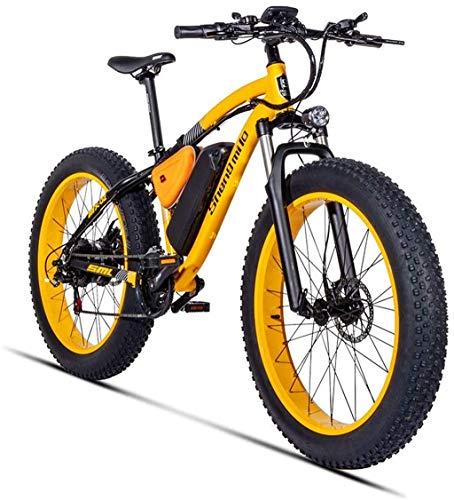 DE-BDBD Electric Mountain Bike 26 Zoll 500W 48V 17AH Mit Abnehmbarer, Großer Kapazität Batterie Lithium-Disc E-Bikes Elektro-Fahrrad 21 Speed   Gear Und DREI Arbeitsmodi,Gold