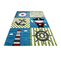 Carpetsale24 Kids rugs for kids room, baby room, play rug pirate motif squared, multi colors blue green red black white_0450, Size:160 cm x 230 cm