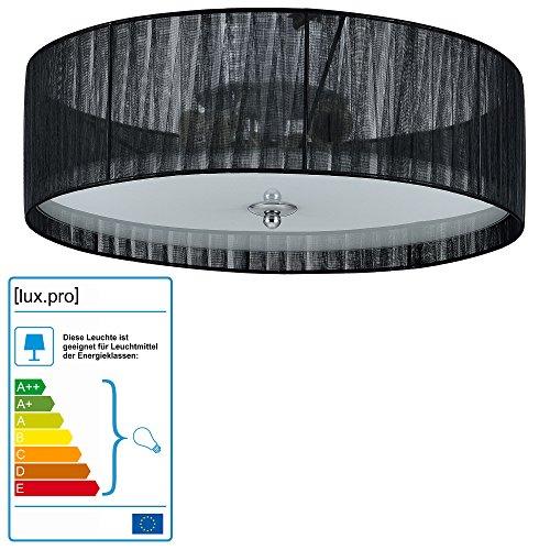 Lüster Deckenleuchte / Deckenlampe - Helena - von [lux.pro]® - Modernes Design: Kronleuchter aus Organza & Kunst-Stoff weiß / schwarz - Ø 40 cm Leuchte - 3 x E27 Sockel - für Wohnzimmer & Schlafzimmer (Alle Glas-kristall-kronleuchter)