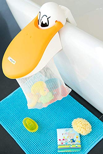 Rotho Babydesign Kidskit Pelikan Badespielzeug-Sammler, Peli\'s Play Pouch, Für Kinder ab 3 Jahren, 36 x 19 x 19 cm, Weiß, 60005