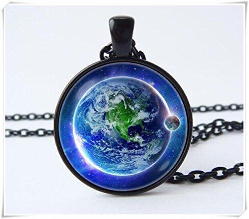 Halskette Planet (Planet Anhänger Halskette Halskette Planet Earth Erde blauer Planet)