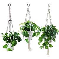 Yotako Rope Hanging Planter, 3 Pattern Indoor Macrame Plant Hanger, Large & Small Wall Hanging Plant Holders, Flower Pot Holder for Ceiling Outdoor Garden Balcony Hanging Basket Holder