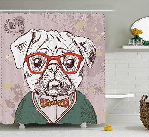 ng, Professor Pug mit Roter Hipster Brille Handgemaltes Design Fliege Schleife Design Druck, Blickdicht aus Stoff inkl. 12 Ringe für das Badezimmer Waschbar, 175 X 200 cm (Rote Schleife Brille)