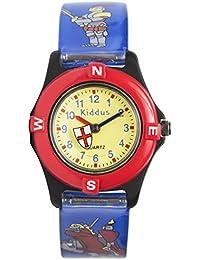 Reloj niño chico infantil, analógico de cuarzo CABALLERO en caja de regalo, Resistente al agua, Mecanismo Seiko, Batería Sony, Azul-Rojo, Kiddus RE0208