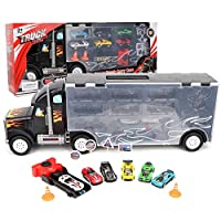 Woyisisi Hight Simulation Car Carrier Truck Toy with 6 Mini Car Model Toys for Children Kids Gift