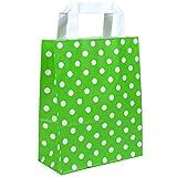 250 Papiertragetaschen in Grösse 18 + 08 x 22 cm aus Kraftpapier und flachen Griffen Farbe Grün Motiv Punkte