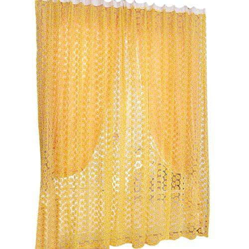 Prosperveil - tenda in voile con stampa floreale con rose e fettuccia a matita, in tulle, per soggiorno, camera da letto, decorazione per la casa, 200 cm yellow
