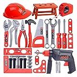 28 PCS Kinder Spielzeug Emulational Repair Tool Kit Junge Spielhaus Spielzeug,Werkbank Spielzeug Schrauben und Bauelementen Inkl. Helm Zubehör