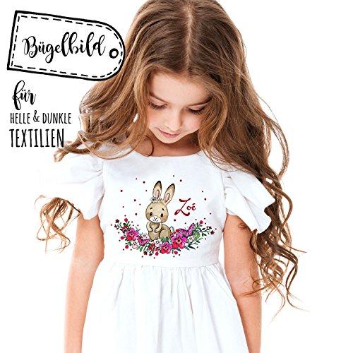 Bügelbilder Hase Häschen & Punkte Applikation Bügelbild Bügelmotiv Aufbügelbilder für Mädchen mit Name Wunschname bb109 ilka parey wandtattoo-welt® Kaninchen-karotte-patch