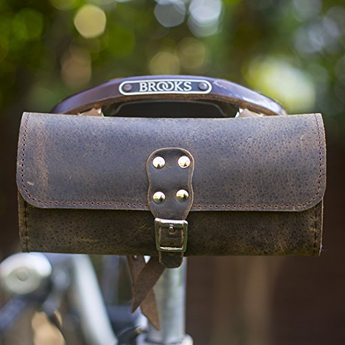 Bicicleta sillín Bolsa Raw marrón Vintage de piel auténtica estilo (marrón)