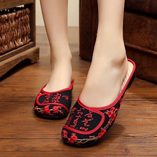 ZLL Gestickte Schuhe, Sehnensohle, ethnischer Stil, weiblicher Flip Flop, Mode, bequem, Sandalen Black