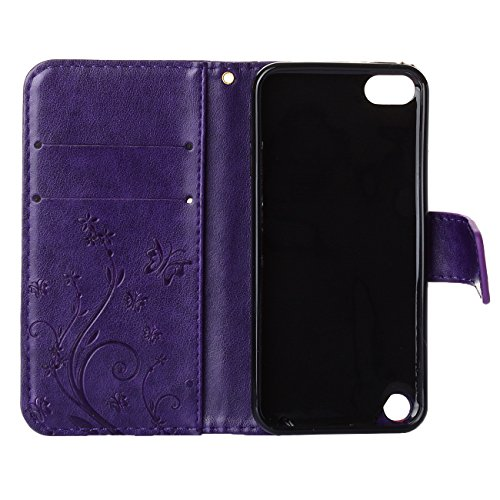 MOONCASE iPhone SE Bookstyle Étui Fleur Housse en Cuir Case à rabat pour iPhone SE / 5S /5 Coque de protection Portefeuille TPU Case Rouge Violet