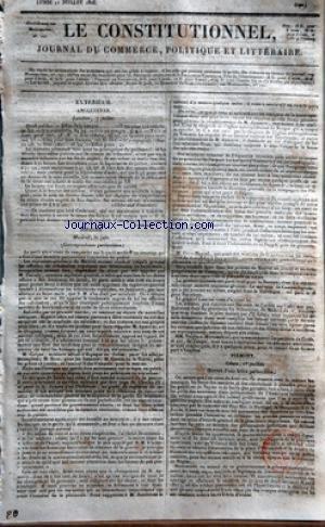 CONSTITUTIONNEL (LE) [No 192] du 11/07/1825 - ANGLETERRE - FONDS PUBLICS - LA BOURSE DES FONDS ETRANGERS - LORD COCHRANE DOIT ETRE INVITE A SERVIR LA CAUSE DES GRECS - ESPAGNE - MADRID - LE PARTI ULTRA VIENT DE REMPORTERUN AVANTAGE SUR LE PARTI MODERE- M. PEZUELA - M. AYMERIC - M. CORPAS - M. ERRO - M. GARCIN DE LA TORRE - L'AMIRAL VILA-VICENCIO - M. ZAMBRANO - LE MARQUIS D'ALMENARA - M. CANO-MANUEL QUI ETAIT MINISTRE SOUS LES CORTES PIEMONT - A GENES - LES BASES DES MESURES ET DES RESOLUTIONS