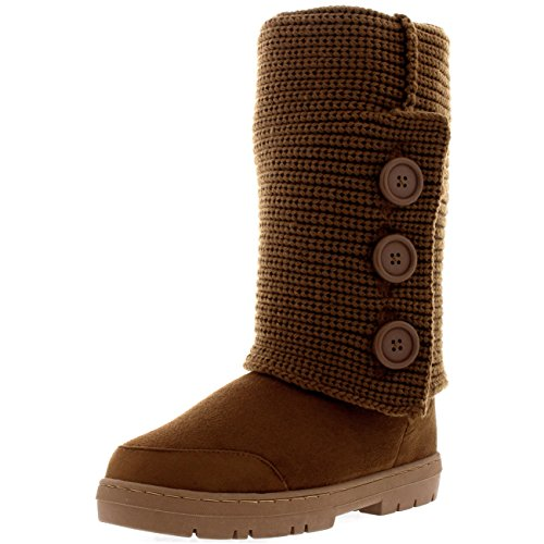 Womens 3 Button Knitted Cardy Snow Fur Lined Rain Flat Winter Boots - 6 -  TAK39 EA0351. Holly