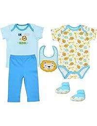 Bebé Camiseta Body Manga Corta Babero Pantalones y Calcetines, 5 Piezas Ropa de Bebé