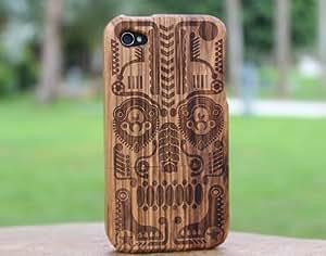 eimo Coque unique fait main en bambou naturel pour iPhone 4/4S Bois zébré