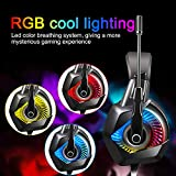 Gaming Headset PS4, ONIKUMA K6 Wired PC Gaming Headphone with Microphone for Surround sound over Ear Headphones with Soft Earmuffs, Stereo Noise Cancelling Gaming Headset with mic, Colourful LED RGB Light for Xbox One S,Nintendo Switch,PC, Laptop, Tablet, Mobile