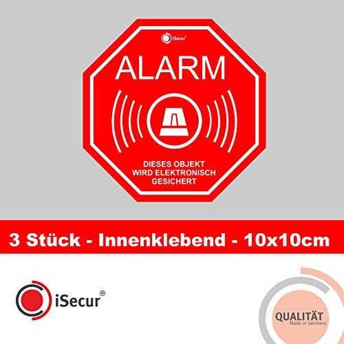 """Preisvergleich Produktbild 3 Stück Aufkleber """"Alarm"""", iSecur®, alarmgesichert, 100x100mm, Art. hin_167_innen, Hinweis auf Alarmanlage, innenklebend für Fensterscheiben, Haus, Auto, LKW, Baumaschinen"""
