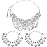 Yaomiao Moneda de la vendimia de la cadena de la cintura y Boho Coin tobilleras pulseras conjunto tallado Rhinestone cuerpo de cristal joyería de la moneda de playa para las mujeres (Plata)