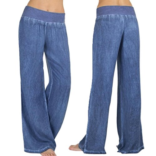 Taille Denim Pant (Wide Leg Denim Pants - Routinemäßige Damen Hohe Taille Jeans - Palazzo Hosen Hosen Lässige Elastizität (S, Blau))
