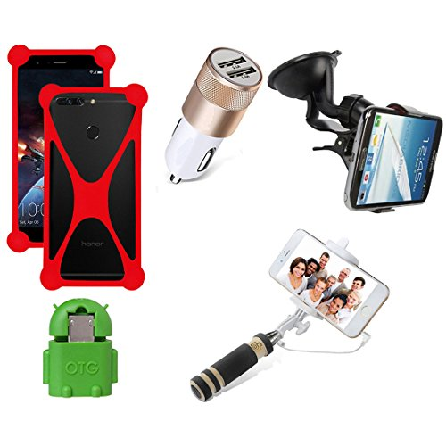 Casotec 5 in 1 Combo offer Car Mount Holder / Mobile Cover / Selfie Stick Monopod / Car Charger / OTG for Samsung Galaxy Core Prime