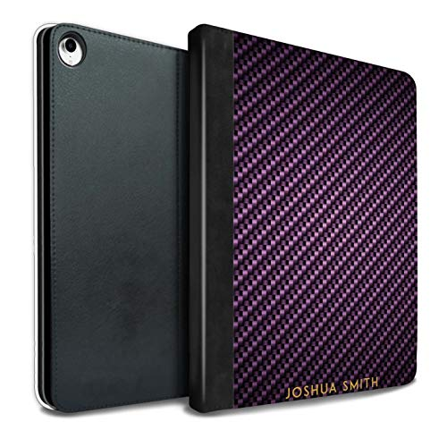 eSwish Personalisiert Kohlenstoff-Faser Muster PU-Leder Hülle für iPad Pro 10.5 (2017) / Lila Stempel Design/Initiale/Name/Text Tablet Schutzhülle/Tasche/Etui (Kohlenstoff-faser-buchstaben)