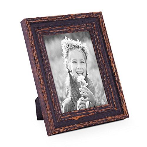PHOTOLINI Vintage Bilderrahmen 13x18 cm Holz Dunkelbraun Shabby-Chic Massivholz mit Glasscheibe und Zubehör/Fotorahmen / Nostalgierahmen