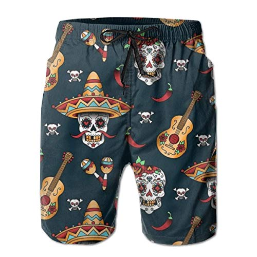 magic ship Mens Guitar Pepper Sugar Skull Bedruckte lustige Badehose Quick Dry Beachwear Sport Running Swim Board Shorts - Outdoor-menü-board