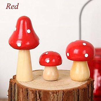 Orange Lot de 10pcs Champignon Miniature en Bois D/écoration pour Micro Paysage Jardin F/éerique DIY Bricolage