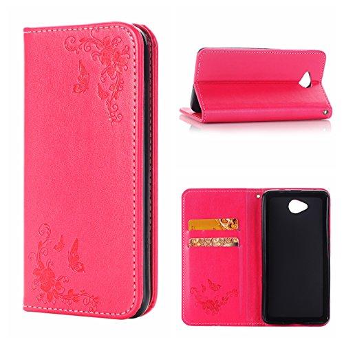 Nokia N650 Ledertasche Hülle,EVERGREENBUYING - Blumenmuster Handyhülle RM-1154 Aufklappbare Leder Schutzhülle im Flip Etui Cover Style Für Microsoft Lumia 650 Weiß Rot