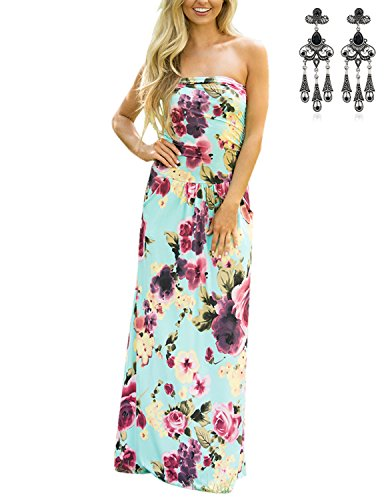 MODETREND Damen Bandeau Bustier Kleider mit Blüte ,  bunt, XL