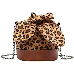 Rawdah_Bolso Mujer Bandolera Bolso desigual Bolso Hombro Pequeños Moda mujer leopardo bolsa de cubo de felpa bolsa de mensajero del hombro bolso crossbody